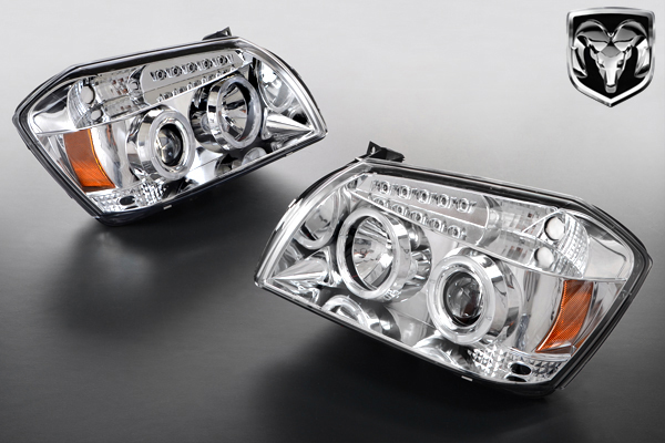 LED イカリング プロジェクター ヘッドライト クローム 日本仕様 右ハンドル 在庫あり 【適合車】 04-08y ダッジ マグナム 安心の台湾製 K089