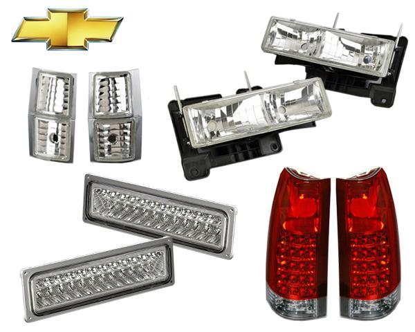 ガラス製クリスタルヘッドライト+LEDテールランプ+LEDパークシグナルランプ+コーナーライト SET 台湾製 在庫あり 【適合車】94-99y シボレー サバーバン タホ C1500 K1500 S105