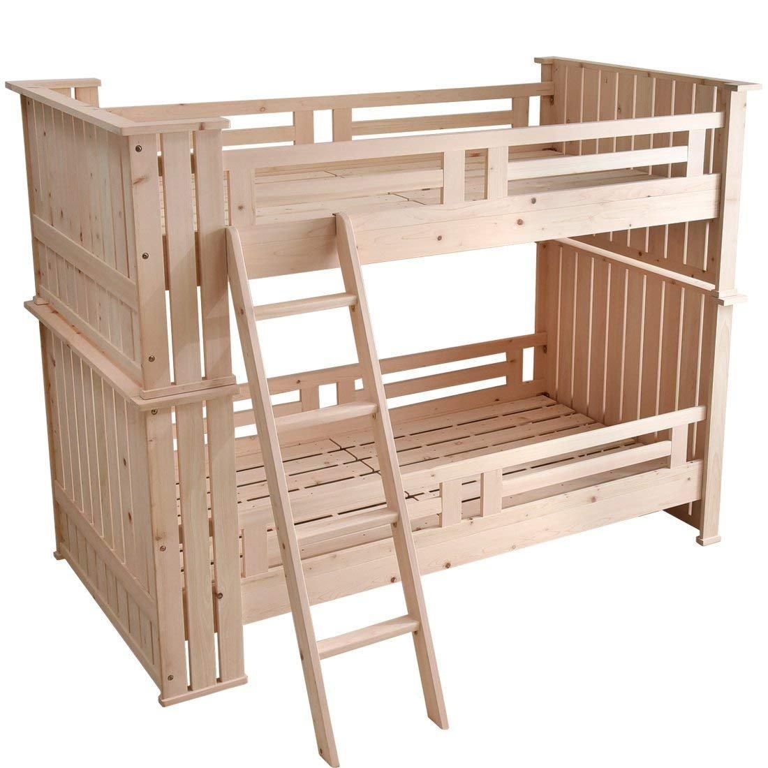 ひのき風呂 2段ベッド 無塗装 檜 ひのき 木製 二段ベット はしご 子供 すのこ ベッド 檜二段ベッド ひのき2段ベッド 大人用 ベッド ベット 頑丈設計 【大型商品】
