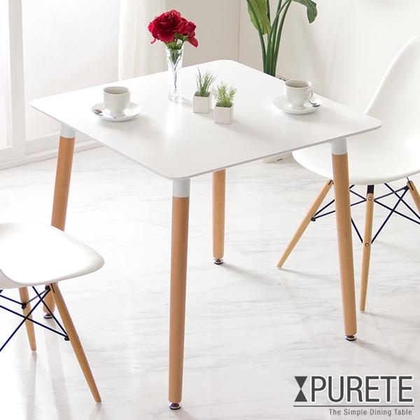 ☆12H全品クーポンで5%OFF☆ シンプルモダンなダイニングテーブル 80cm テーブルのみ ピュルテ 正方形 テーブル ダイニングテーブル ダイニング 木製 北欧 単品 ホワイト おしゃれ 食卓 モダン カフェ 幅80 シンプル