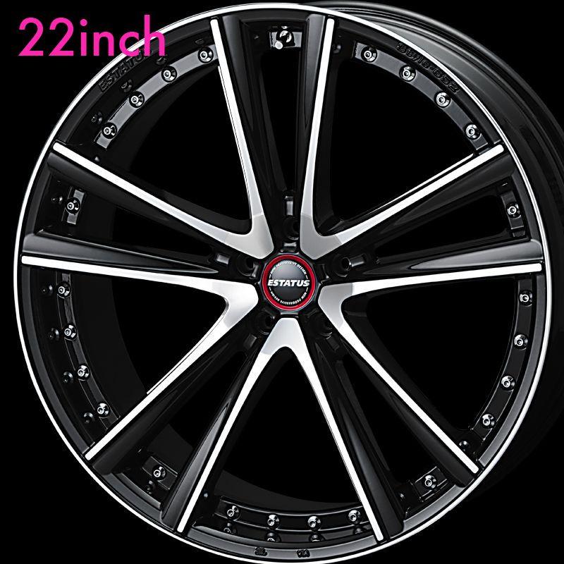 足下のドレスアップに最適!ESTATUS Style-652(エステイタス スタイル652)22インチ-8.5J インセット35・5H/114.3「ブラックミラーフィニッシュ」1本 アルミホイール wheel