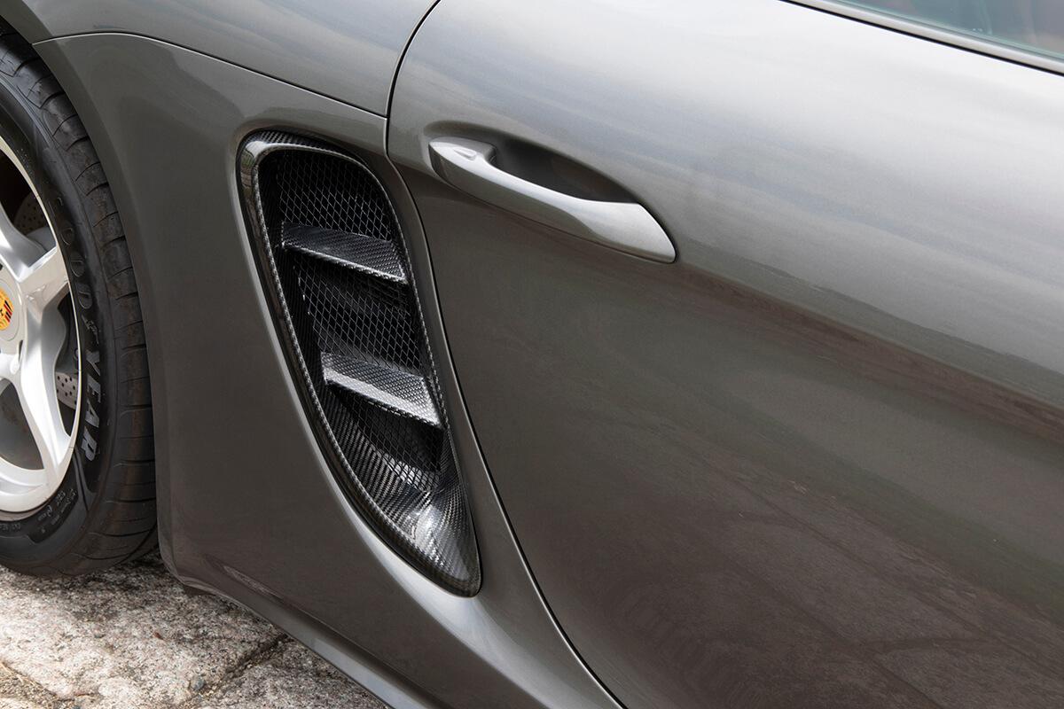 ポルシェ ケイマン ケイマンS ボクスター ボクスターS 718【サイドインテークガーニッシュ】ドライカーボン