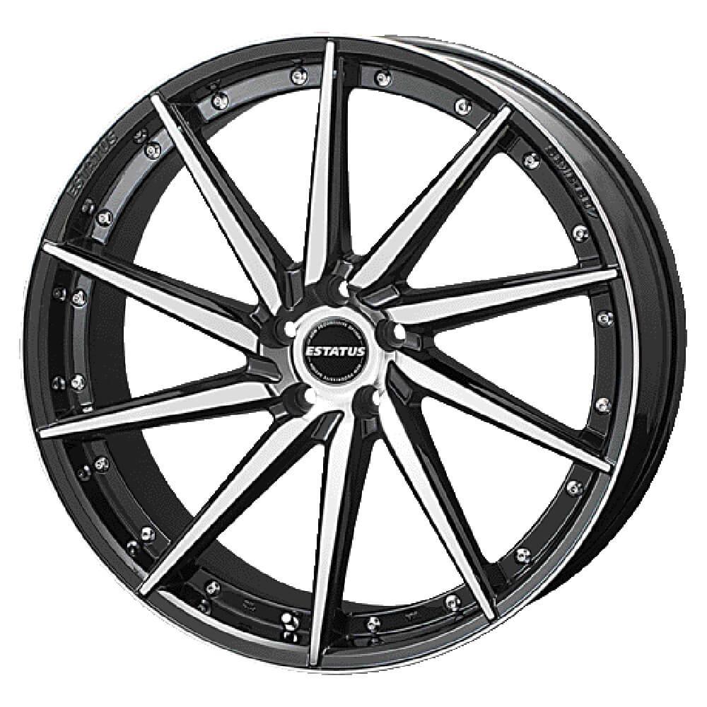 ESTATUS Style-607(エステイタス スタイル607)18インチ-7.5J インセット53・5H/114.3「ブラックミラーフィニッシュ」1本 アルミホイール wheel