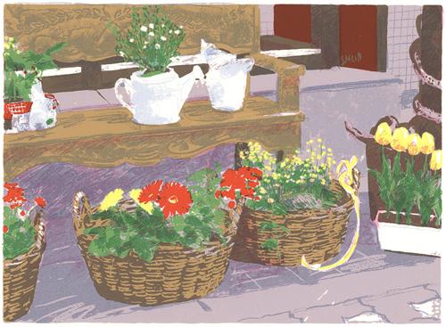版画 福本吉秀/シルクスクリ-ン shop 福本吉秀 Flower Flower shop, 木村時計店:47c457b9 --- sunward.msk.ru