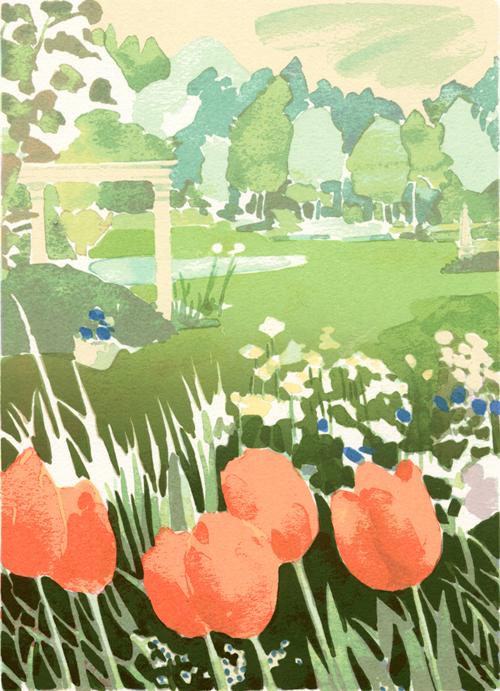 版画 福本吉秀/シルクスクリ-ン Spring 福本吉秀 Spring Garden Garden, car電倶楽部:bb3155ca --- sunward.msk.ru