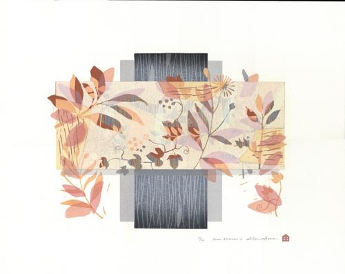版画/油性木版シルクスクリーン 白駒一樹 Asian blossoms-2