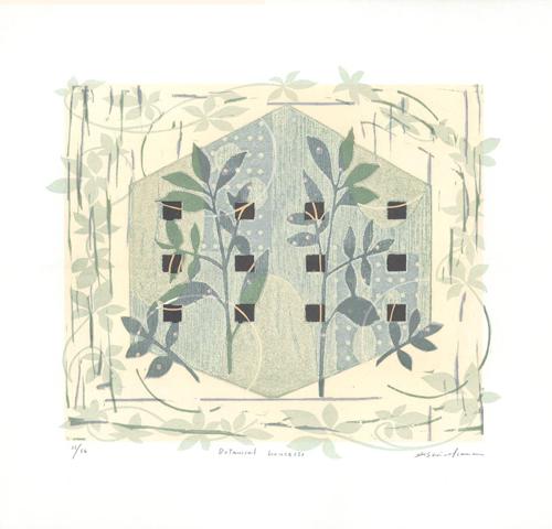 版画/油性木版シルクスクリーン 白駒一樹 Botanical house(s)