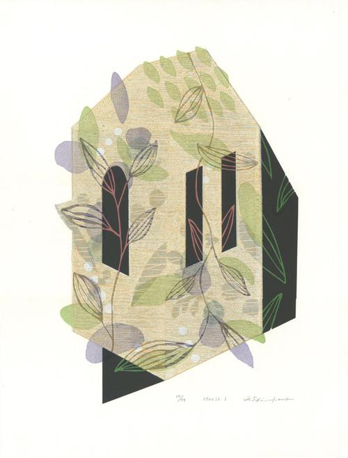 版画/油性木版シルクスクリーン 白駒一樹 House-1