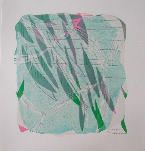 版画/油性木版シルクスクリーン 白駒一樹 Water glass