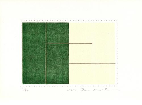 版画/リトグラフ 坪田政彦 描・境-緑