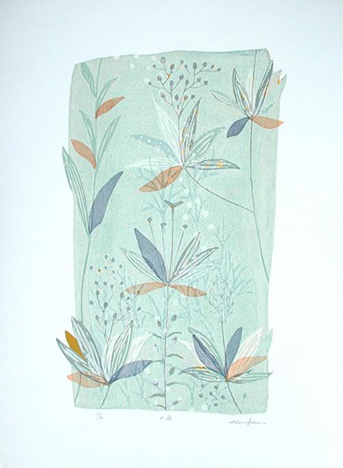 版画/油性木版シルクスクリーン 白駒一樹 水庭