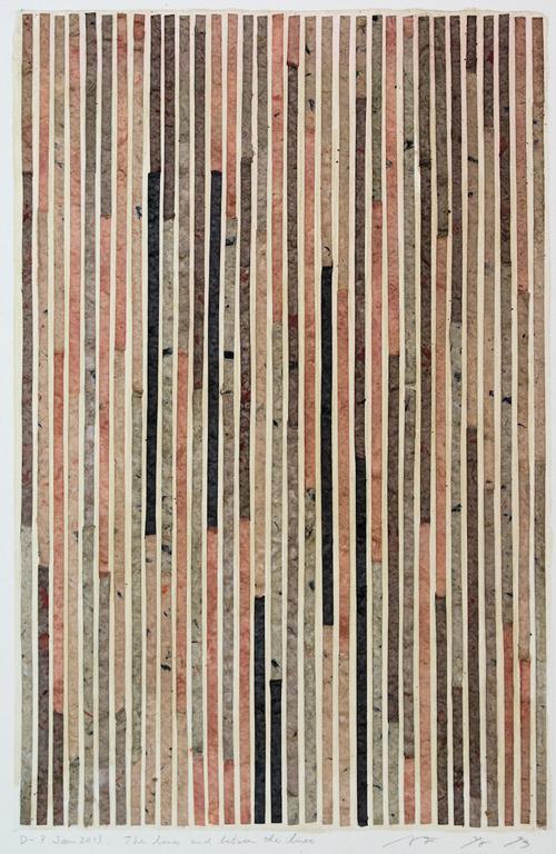 ミクストメディア/自作手漉き和紙、コラージュ 林孝彦 D-7.Jan.2013 The lines and between the lines