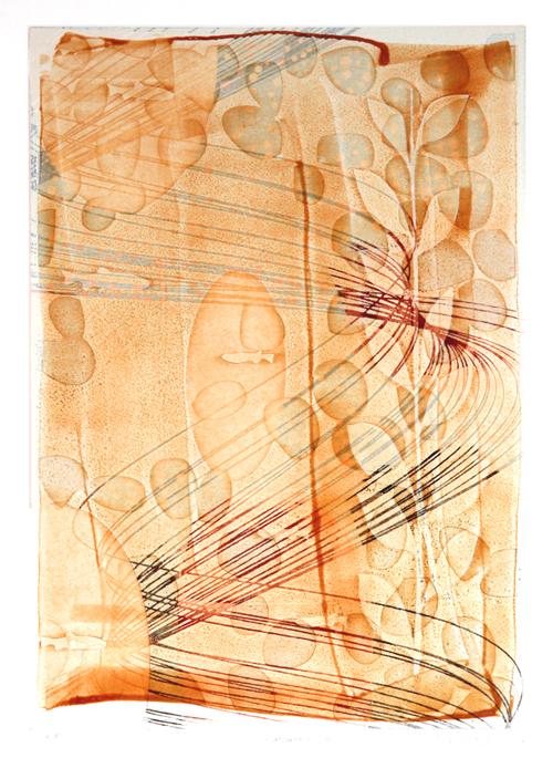 版画/油性木版、コラージュ、手彩 白駒一樹 T-Garden2012-07