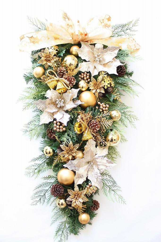 クリスマスリース スワッグリース ゴールド系 大きい 玄関 特大サイズ 70cm