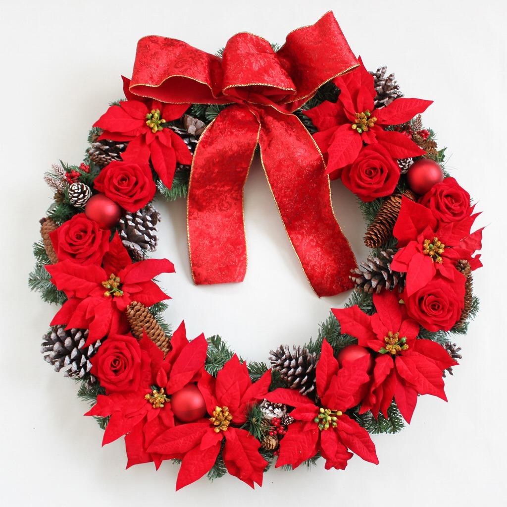 クリスマスリース 特大サイズ ビックサイズ 大きなリース 直径70cm レッド系 ホテルロビーの装飾にオススメ