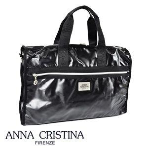 供供宽底旅行皮包2WAY挎包女性使用的名牌ANNACHRISTINA安娜克里斯蒂娜妇女使用的包新作品奥特莱斯女士黑黑色☆b-806☆