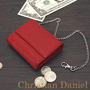 Wallet red red ChristianDaniel Christian Daniel wallet saifu wallet ☆ l-265 very small for three wallet short wallet / book cowhide fold☆