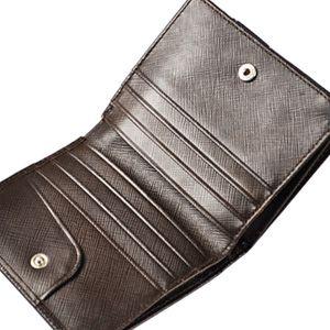 短钱包人钱包名牌对开棕色
