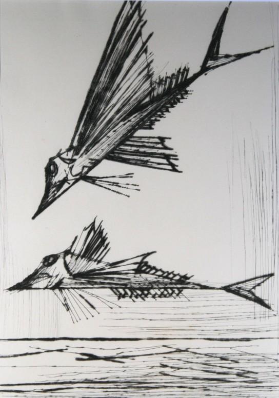 版画 ベルナールビュッフェ 2匹の魚ビュッフェの鋭い線と研ぎ澄まされた感性がこの作品には感じます 初期の銅版画作品ナポリシリーズより