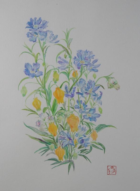絵画 菱沼明子「野の花」水彩画4号 送料無料