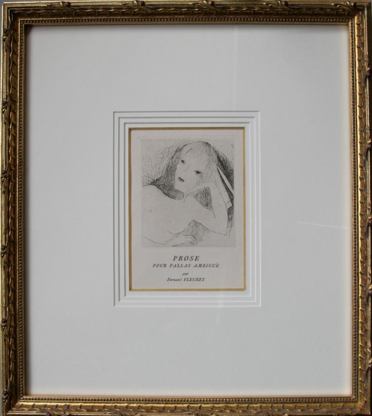 Fleuret Fernand 版画 1921 ローランサン「曖昧なるパラス」 扇