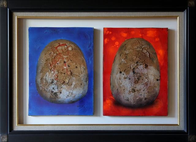 絵画 椿野浩二  つばきのこうじ黙シリーズより 「赤・青」 4号×2枚 フレスコ