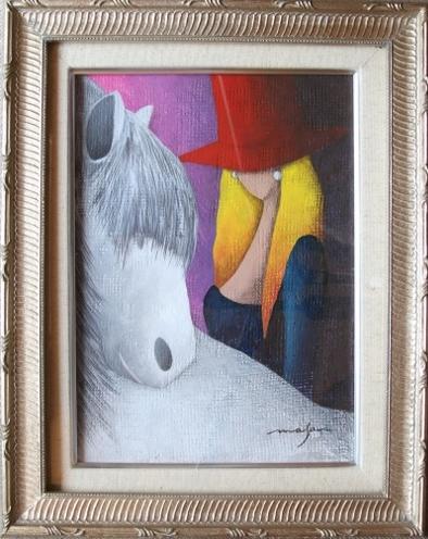 絵画 藤原正和「女性と馬」 4号
