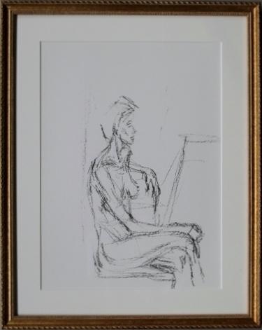 版画 アルベルト ジャコメッティ 横向きに座るアネットミロワール 1961年 No.127 オリジナルリトグラフ