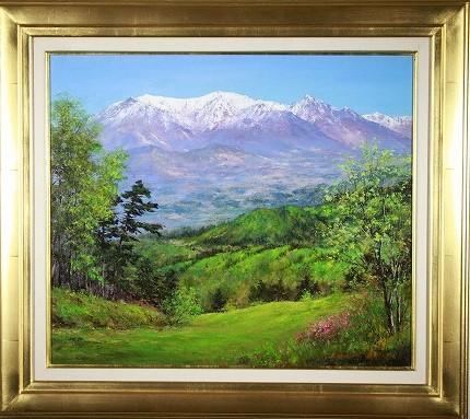 絵画 武井清 新緑の蔵王連峰 10号洋画山岳画協会会員 日本山岳会会員