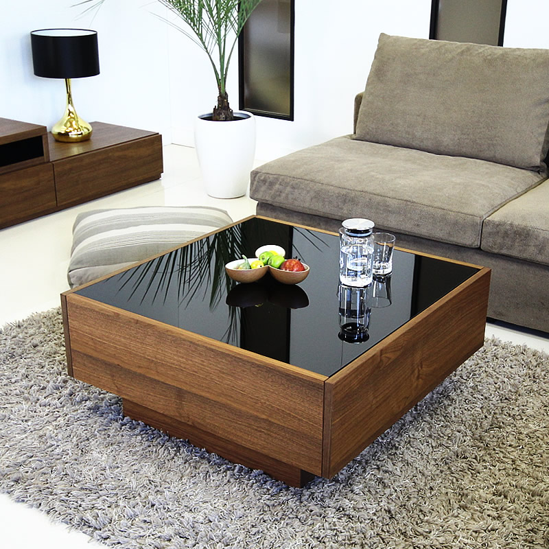 G shape rakuten global market center table walnut glass wooden center table walnut glass wooden drawer w black black scandinavian modern domestic completed gs boxy coffee table square rectangle watchthetrailerfo