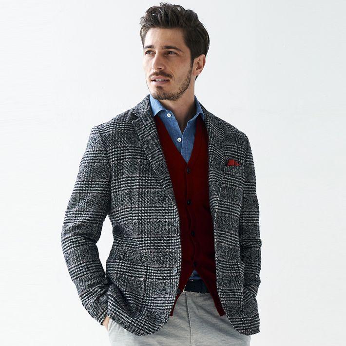 12af9e94f Cloth Japan sewing Shetland wool blend glen check two button jacket gray  check hair men adult ...