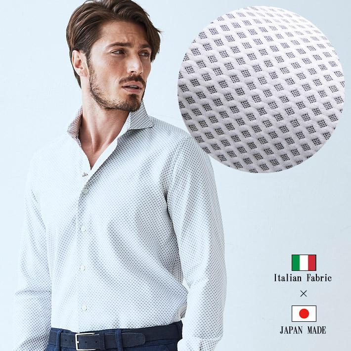 日本製 シャツ 長袖ワッフルジャガード織り柄 メンズシャツ コットン カッタウェイ カジュアルシャツ イタリア生地 TESSITRAMA イタリアシャツ 280660-001 GALLIPOLI camiceria(ガリポリカミチェリア)