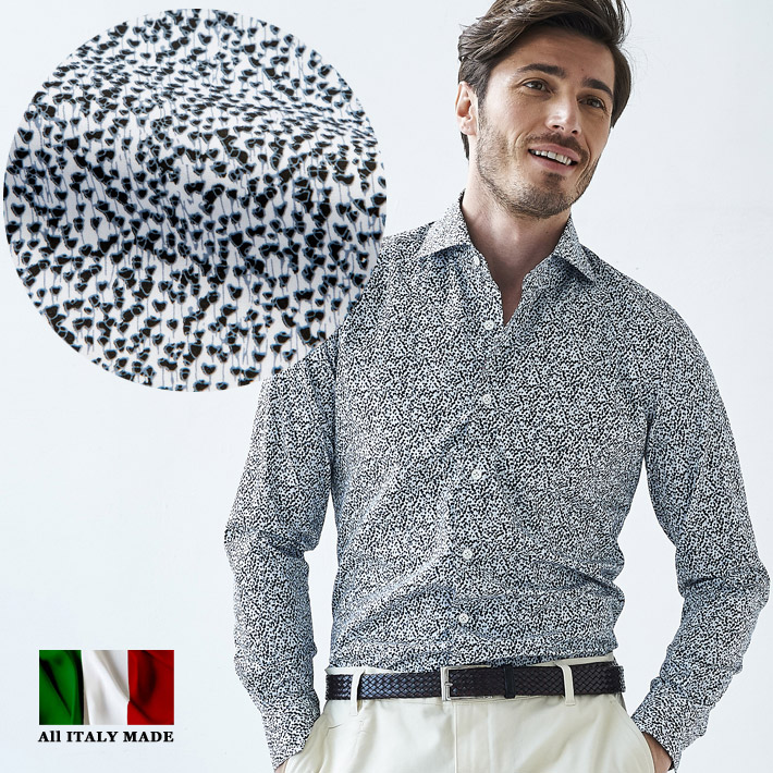イタリア製 長袖シャツ セミワイド カッタウエイ カジュアルシャツ メンズ コットン イタリアシャツ 580651-504 GALLIPOLI camiceria(ガリポリカミチェリア)