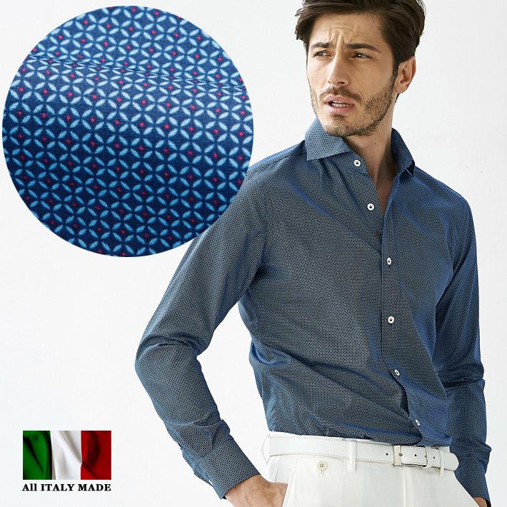 イタリア製 ジオメトリック柄長袖シャツ ネイビー セミワイド カッタウエイ カジュアルシャツ メンズ コットン イタリアシャツ 580651-505 GALLIPOLI camiceria(ガリポリカミチェリア)