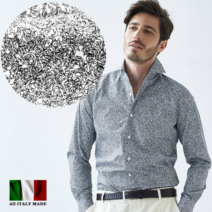 イタリア製 メンズシャツ 花柄 長袖シャツ ブラック セミワイド カッタウエイ カジュアルシャツ コットン イタリアシャツ 580651-508 GALLIPOLI camiceria(ガリポリカミチェリア)