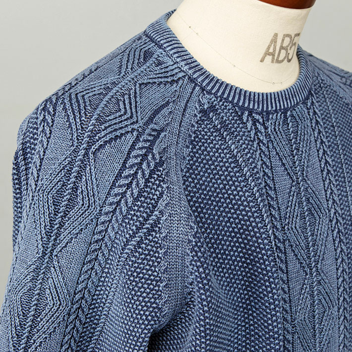 Cable moss-stitch cotton crew neck sweater summer knit navy pink men-style  580708 G-stage (G stage) c7f7be852