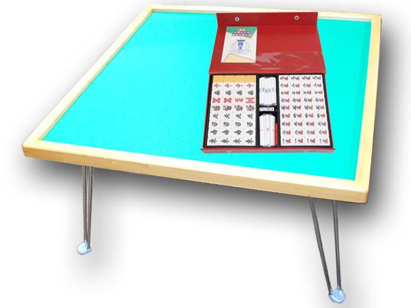 手打ち用麻雀牌 さんご+座卓(引出無) 折りたたみ式麻雀テーブルと定番麻雀牌がセットになった!【smtb-KD】