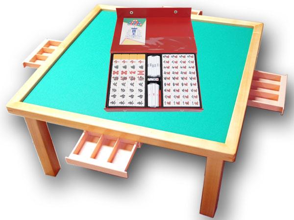 手打ち用麻雀牌 さんご+座卓(引出付) 便利な引出付の麻雀テーブルと定番麻雀牌がセットになった!【smtb-KD】