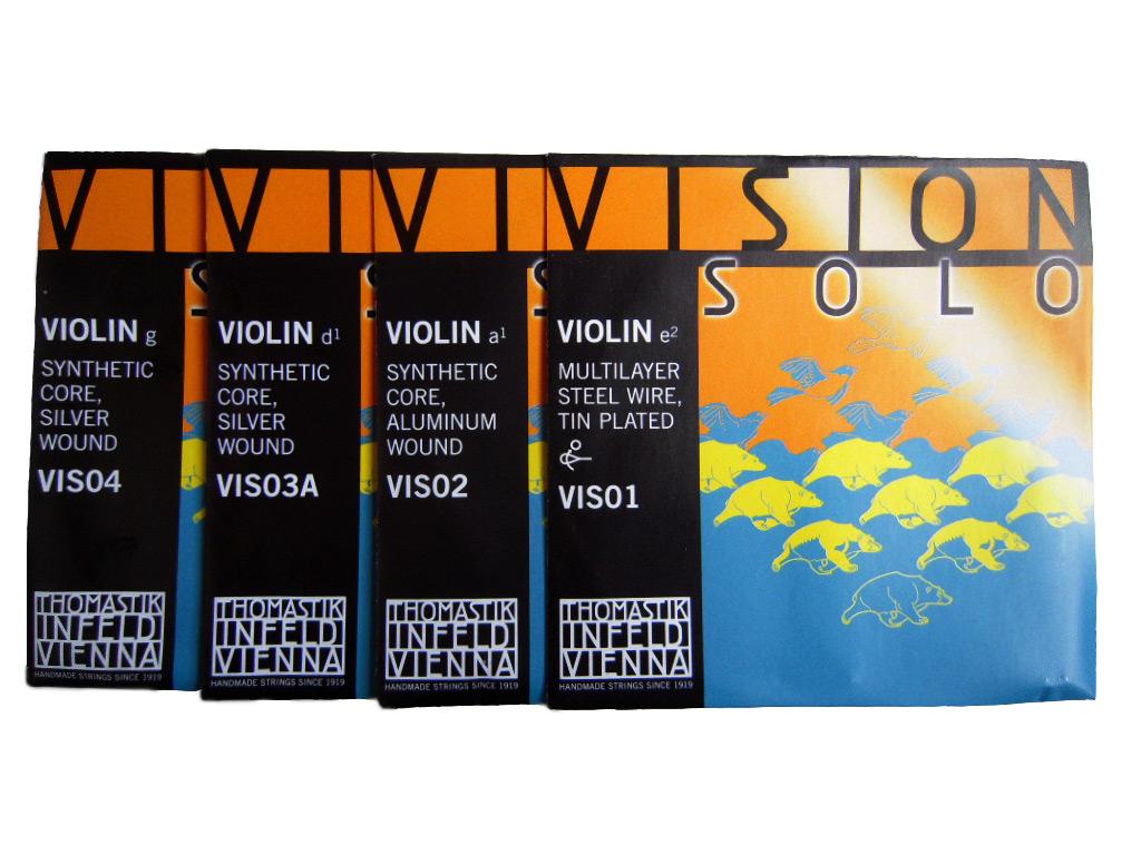 お得セット Thomastik Vision SOLO EADG弦セット VIS01,VIS02,VIS03A,VIS04 4 4サイズ バイオリン弦セット 入手困難 smtb-kd ヴィジョン ソロ トマスティック