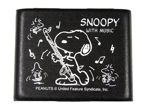 スヌーピーがデザインされた可愛いリードケース ポスト投函 SNOOPY with 完全送料無料 Music SBC-05 ブラック SBC05 価格 交渉 送料無料 5枚収納 smtb-KD バスクラリネット用リードケース スヌーピーバンドコレクション