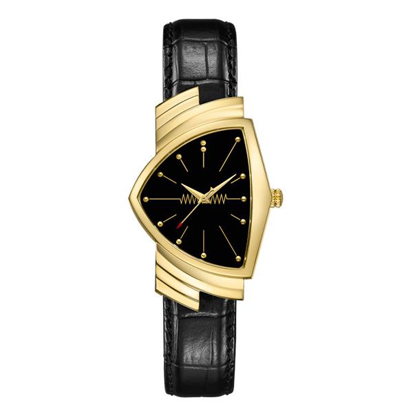 【ノベルティプレゼント】HAMILTON ハミルトン VENTURA ベンチュラ QUARTZ クオーツ メンズ ブラック ゴールド H24301731 腕時計
