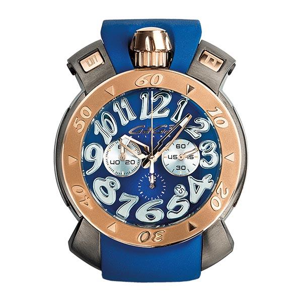 GaGa MILANO (ガガミラノ) CHRONO 48MM(クロノ 48ミリ) IPコーティング ブルー メンズ 8015.01 腕時計