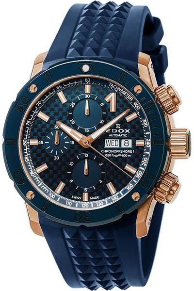 【ノベルティプレゼント】【メーカー取寄せ】EDOX(エドックス) クロノオフショア1 メンズ クロノグラフ オートマチック ブルー 01122-37RBU35-BUIR3 腕時計