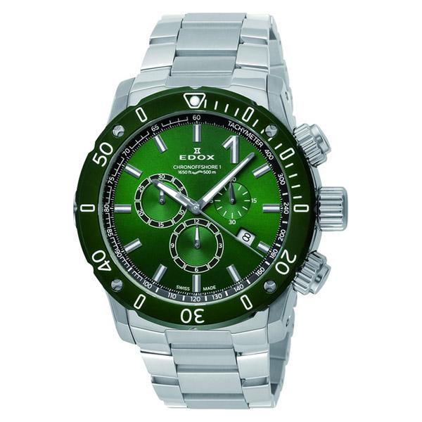【ノベルティプレゼント】EDOX(エドックス) CHRONOFFSHORE-1 CHRONOGRAPH クロノオフショア1 クロノグラフ スペシャル・エディション メンズ グリーン シルバー 10221-3VM5-VIN5 腕時計