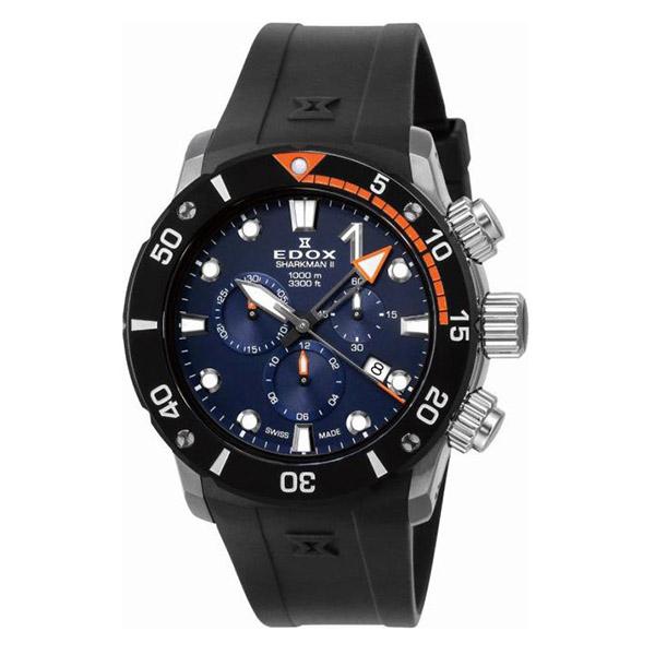 【ノベルティプレゼント】【メーカー取寄せ】EDOX(エドックス) CHRONOFFSHORE-1 C Sharkman II Chronograph Limited Edition クロノオフショア1 シャークマン2 クロノグラフ リミテッド・エディション メンズ 世界限定300本 10234-3O-BUIN 腕時計