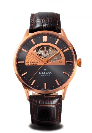 【ノベルティプレゼント】【メーカー取寄せ】 EDOX(エドックス) レ・ヴォベール オープンハートオートマチック メンズ 自動巻き ブラウン ブラック 85019-37RG-GIR 腕時計