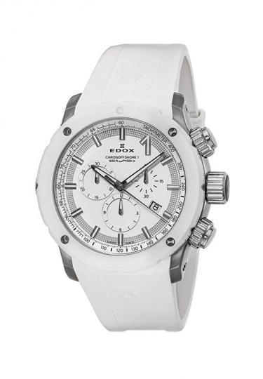 【ノベルティプレゼント】 EDOX(エドックス) クロノオフショア1 メンズ クロノグラフ デイト表示 10221-3B3-BIN3 ホワイト 腕時計