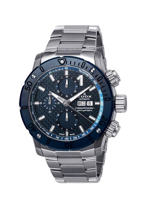 【ノベルティプレゼント】 EDOX(エドックス) クロノオフショア1クロノグラフオートマチック メンズ デイデイト表示 ブルー シルバー 01122-3BU3M-BUIN3 腕時計