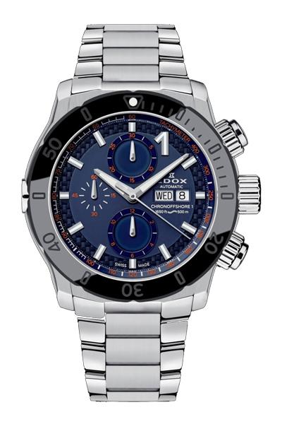 【EDOXフェア】【当店限定ノベルティ ウォッチワインダーをプレゼント】【メーカー取寄せ】 EDOX(エドックス) クロノオフショア1クロノグラフオートマチック メンズ デイデイト表示 シルバー ブルー 01122-3NM-BUINO 腕時計