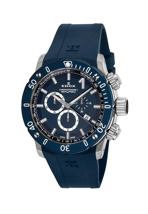 【ノベルティプレゼント】 EDOX(エドックス) クロノオフショア1 メンズ クロノグラフ デイト表示 ブルー 10221-3BU3-BUIN3 腕時計